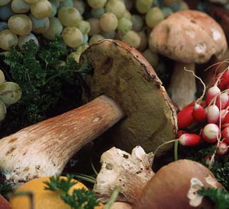 Close-up of mushrooms, grapes, and other vegetables at a Paris market.